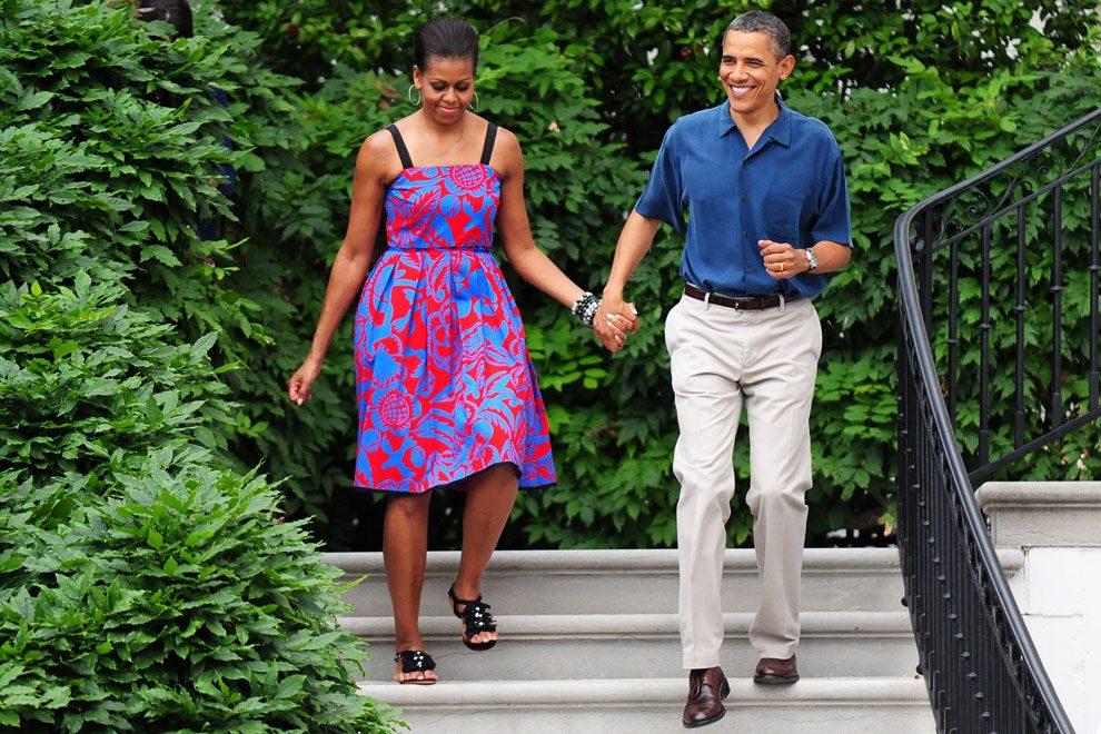 Мишель в платье Sophie Theallet и Барак Обама в Белом доме, 2011
