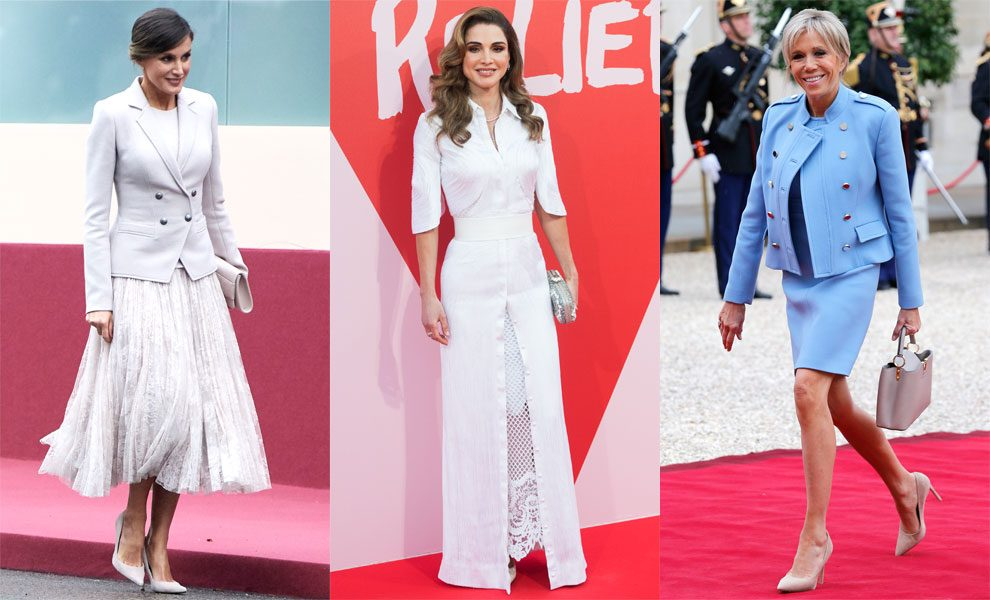 Королева Летисия в Мадриде, 2018. Королева Рания на вечере Fashion for Relief в Каннах, 2017. Брижит Макрон в Париже, 2017