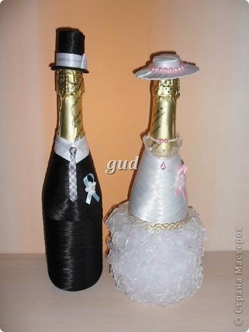 Декор предметов Мастер-класс Свадьба Аппликация Свадебные бутылочки и МК Ленты фото 31