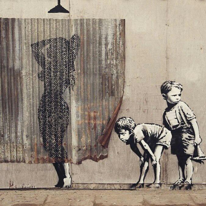 Графитти с использованием листа металла