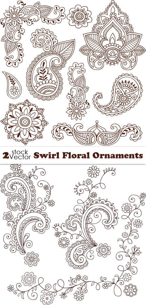 Цветочные узоры и орнаменты - вектор. Swirl Floral Ornaments
