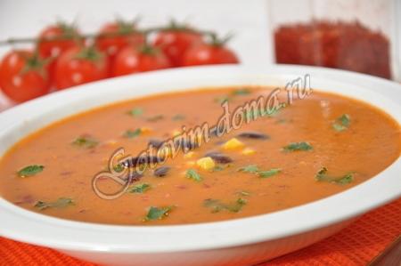 Суп-пюре с консервированной фасолью и томатами
