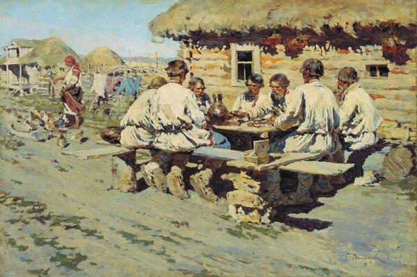 """""""Обед работников"""" Сергей Виноградов 1890"""