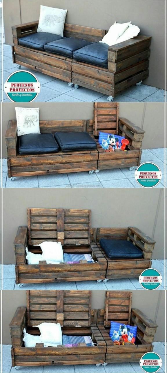 Палетный диван - хранилище