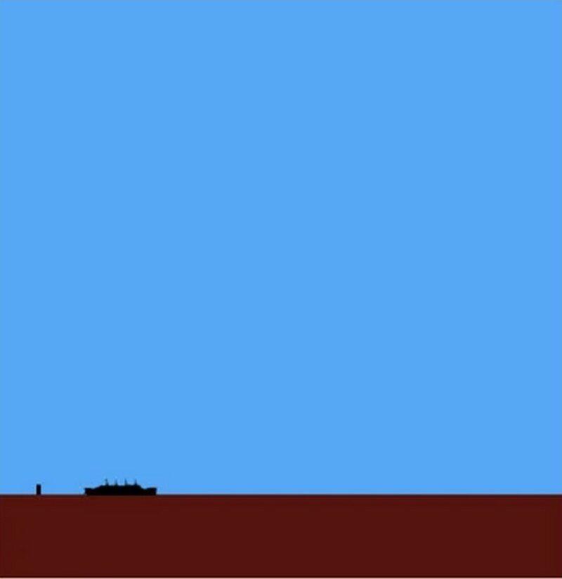 """Представьте только, если бы на дне Байкала затонул """"Титаник"""", то выглядело бы это примерно так. Кстати, рядом с """"Титаником"""" небольшая черточка - не дефект картинки, а обычная десятиэтажка  байкал, в мире, дно, интересно, озеро, озеро байкал, познавательно"""