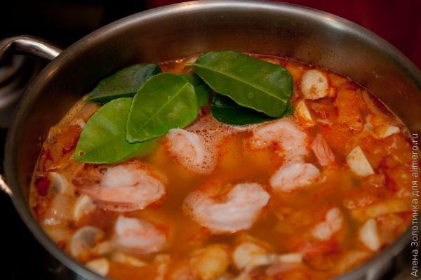 добавим креветки в суп