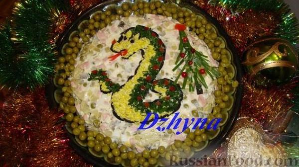 Как украсить салаты к новому году змеи с фото