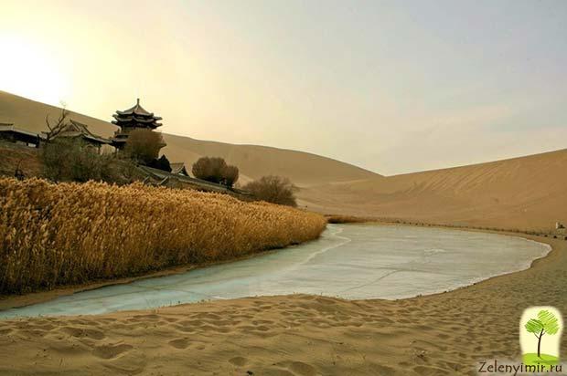 Удивительный оазис — озеро Полумесяца в пустыне Гоби - 7