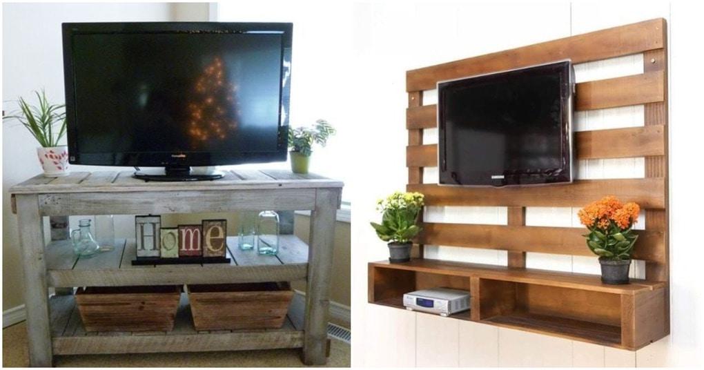 20 креативных тумб и стенок под ТВ из деревянных поддонов