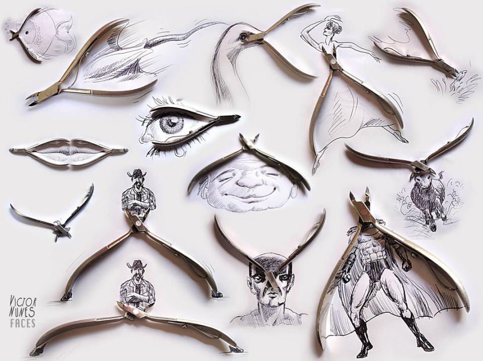 Виктор Нунес - Рисунки из щипчиков