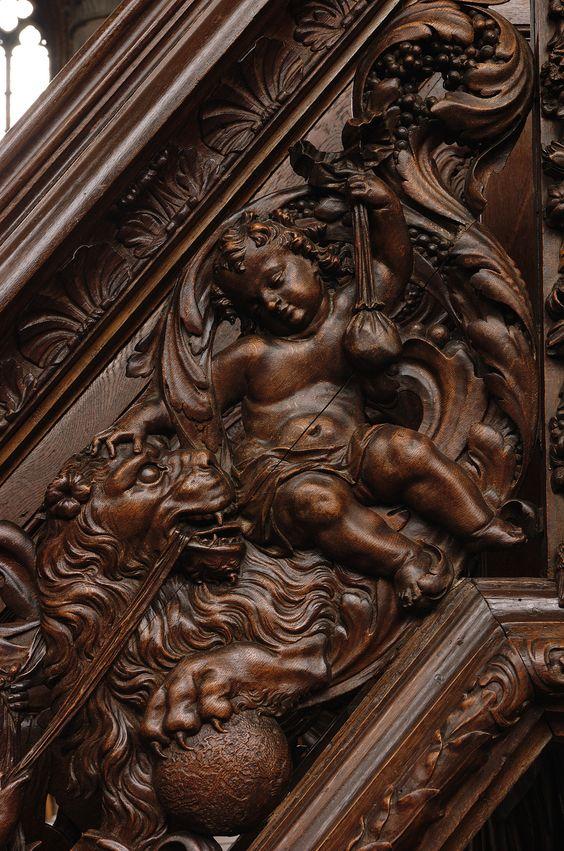 Poperinge, West-Vlaanderen, Sint-Bertinuskerk, pulpit, stairway, southwest, detail | by groenling