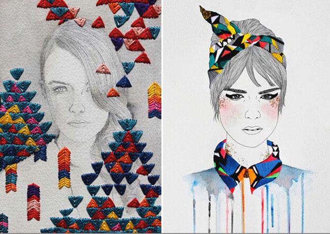 Рисунки, дополненные вышивкой и вязанием