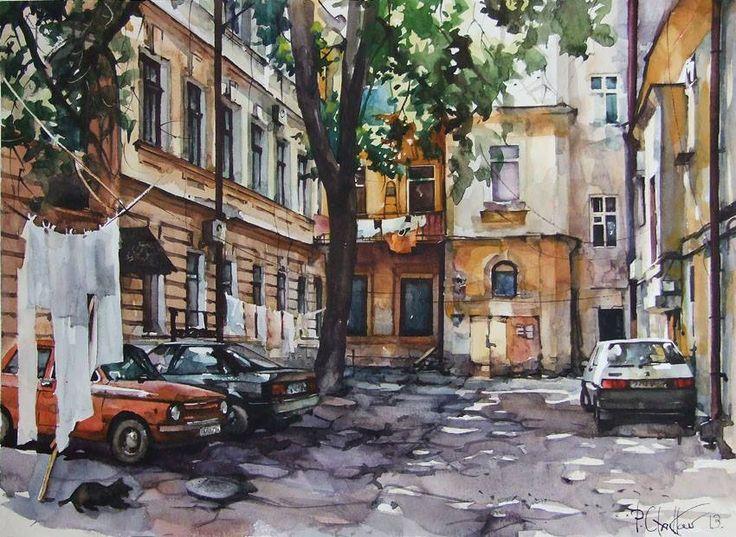 Этот двор что-то значит в моей, без сомненья, судьбе... Художник Павел Гладков