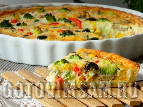 Заливной пирог с грибами и овощами.