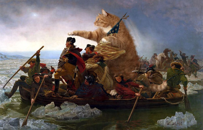 Известные картины, куда удачно вписался толстый котик
