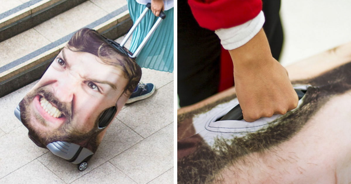 People Are Laughing At This Luggage Cover That Uses Giant Pic Of Your Face But It's Actually Genius