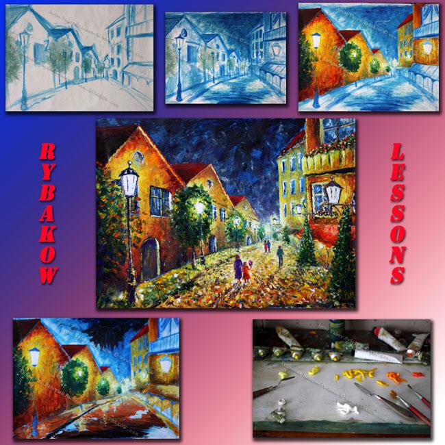 Бесплатный урок создания картины ночного городского пейзажа.
