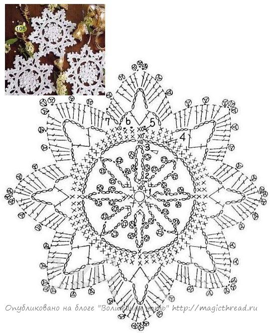 Вязание снежинки схемы вязания 884