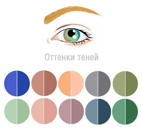 Схемы-подсказки, как подбирать тени под цвет глаз