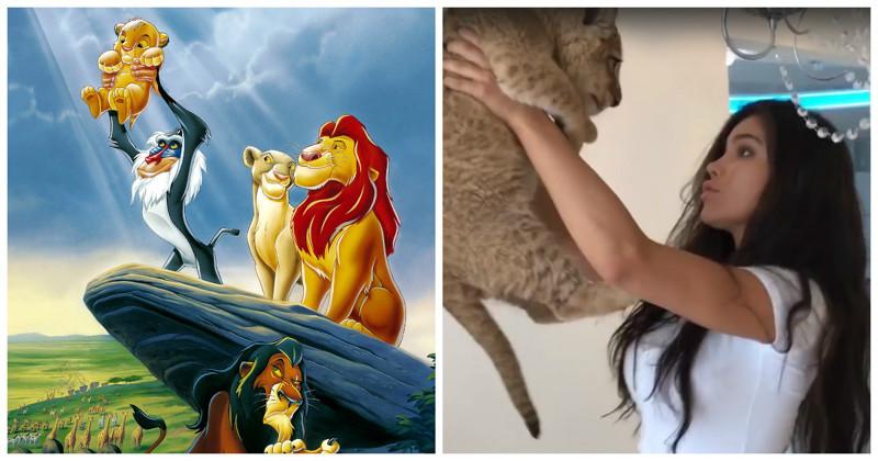 """О, тёпленькая пошла! Маленький львенок """"высказал"""" модели всё, что он о ней думает Instagram, видео, девушка, животные, король лев, львенок, прикол, юмор"""