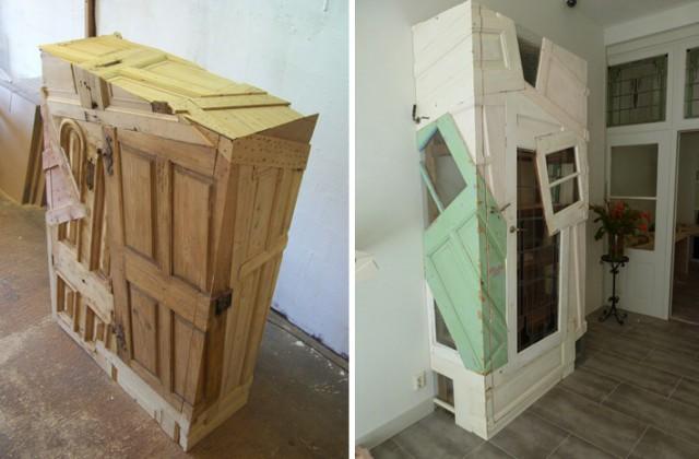 Стильная мебель из старых рам и дверей
