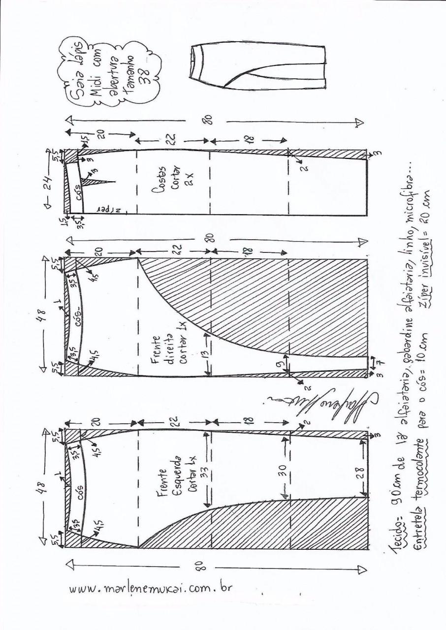 Выкройка шикарной юбки на размеры евро от 36 до 56