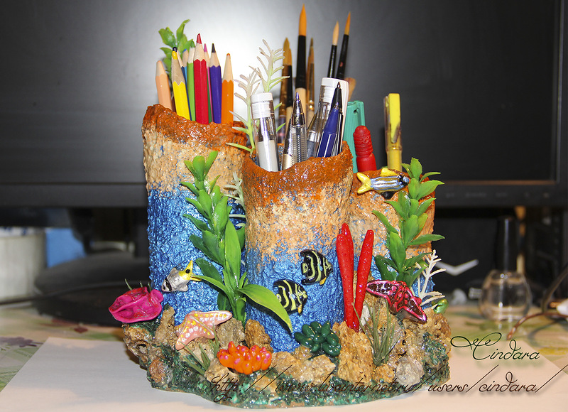 """Подставка  под карандаши и ручки """"Коралловый риф"""" + небольшой МК."""