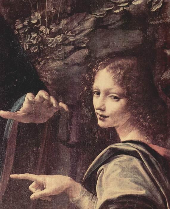 Леонардо да Винчи-Мадонна в скалах. Мария с младенцем Иисусом, младенцем Иоанном Крестителем и ангелом. Фрагмент. Ангел (571x700, 63Kb)
