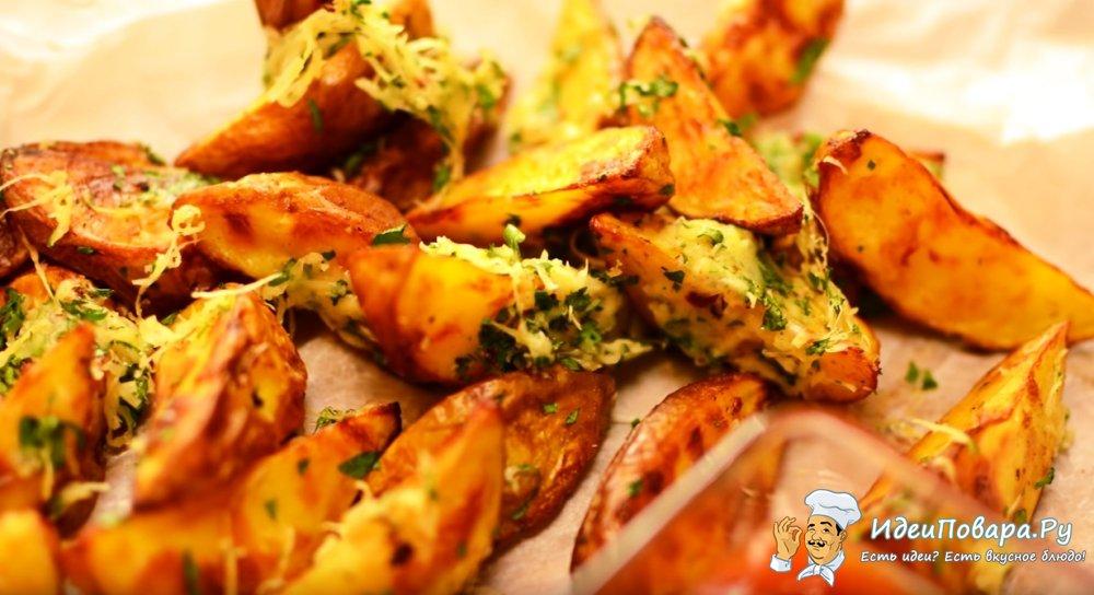 Картошка по деревенски с сыром и чесноком — рецепт