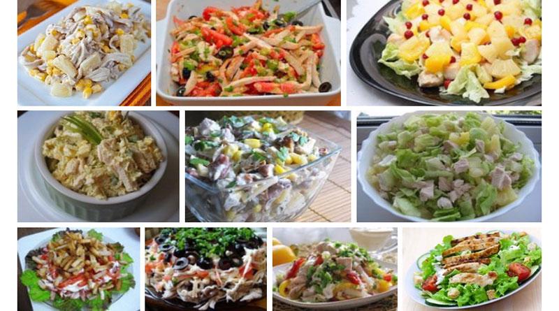 Любимые салаты с куриным филе. 10 лучших рецептов