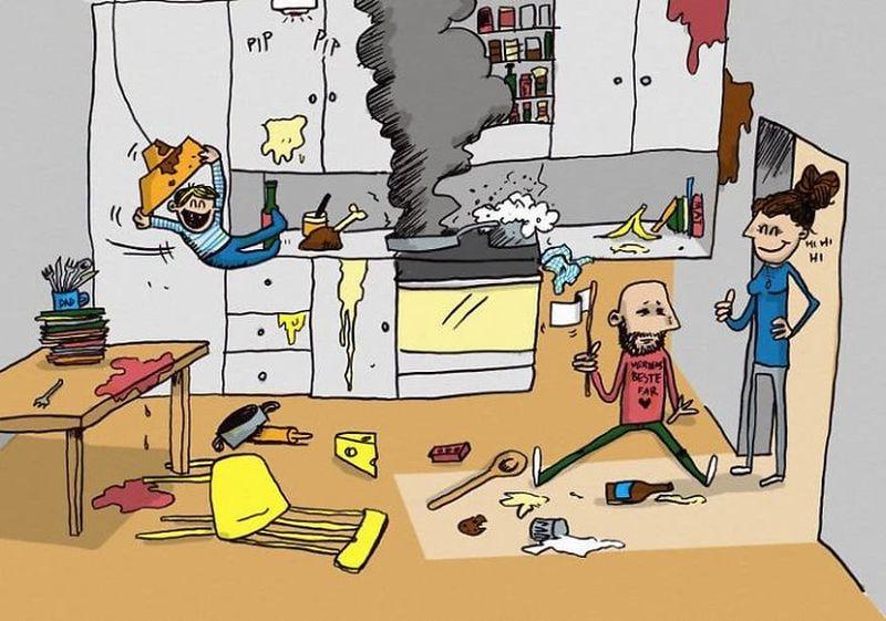 Папа двоих детей нарисовал комиксы о своей жизни