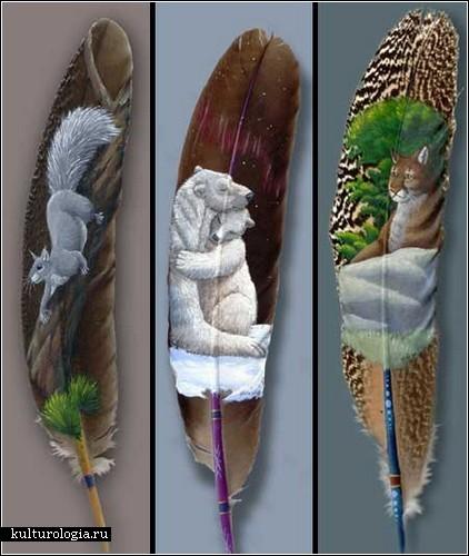 Живопись на перьях. Какая великолепная, тонкая работа...