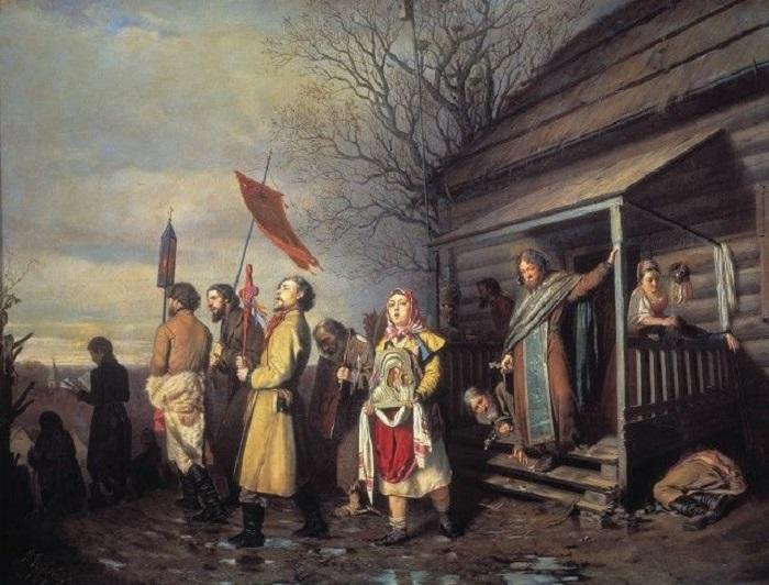 Сюжет картины, написанной в год отмены крепостного права, передает тонкую критику современного российского общества.