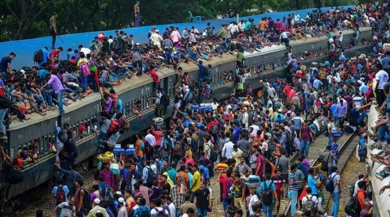 Так выглядит общественный транспорт в Бангладеш во время сезонной миграции бангладеш, в мире, люди, миграция, транспорт