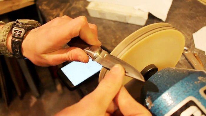 Используем деревянный диск для быстрой наточки ножей