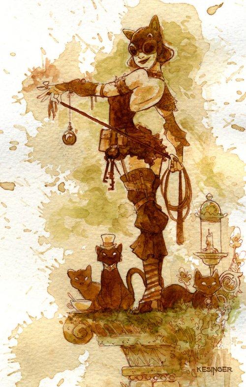 Иллюстрации в стиле стимпанк, нарисованные чаем (30 фото)