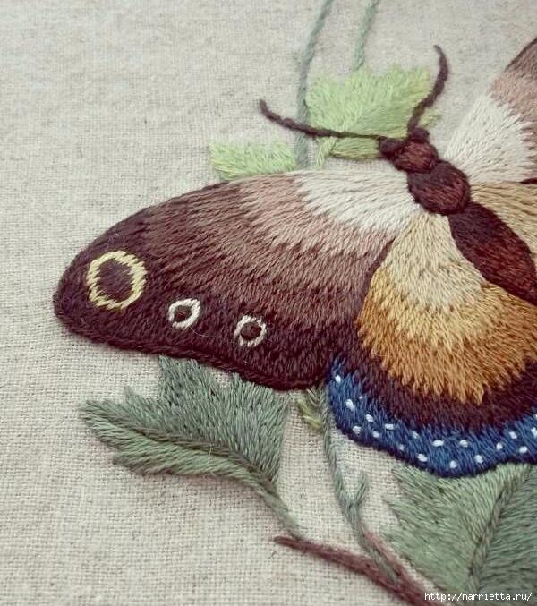 Вышивка гладью Бабочка (16) (600x677, 299Kb)