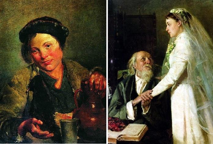 «Мальчик, продающий квас». (1861). / «К венцу» (1894). Автор: Владимир Маковский.