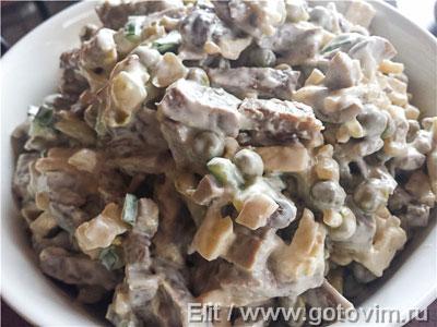 Салат из языка с грибами и сыром. Фото-рецепт