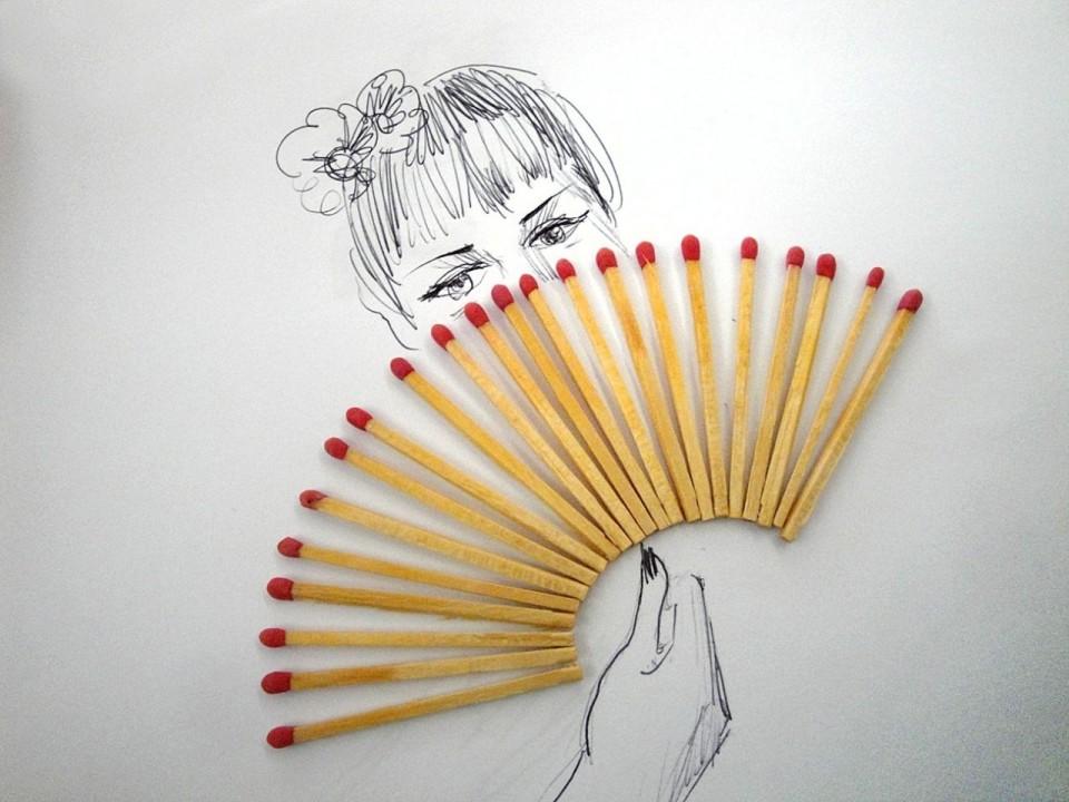 Виктор Нунес - Рисунки из спичек