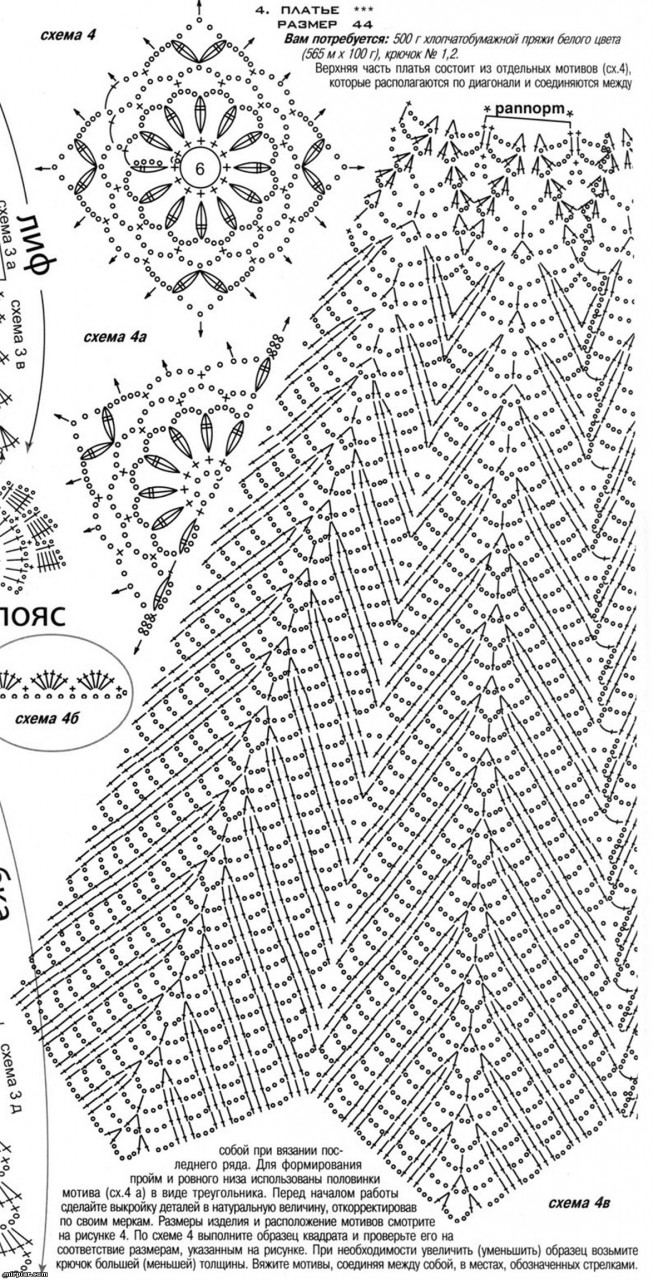 Схема узора вязания юбки крючком для