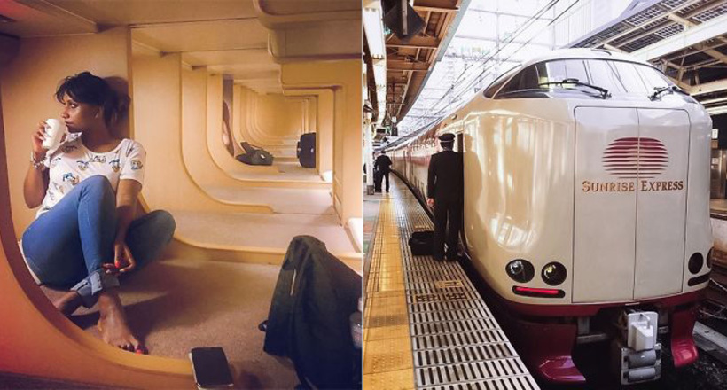 Японские ночные поезда выглядят совершенно обыкновенно снаружи, но не внутри