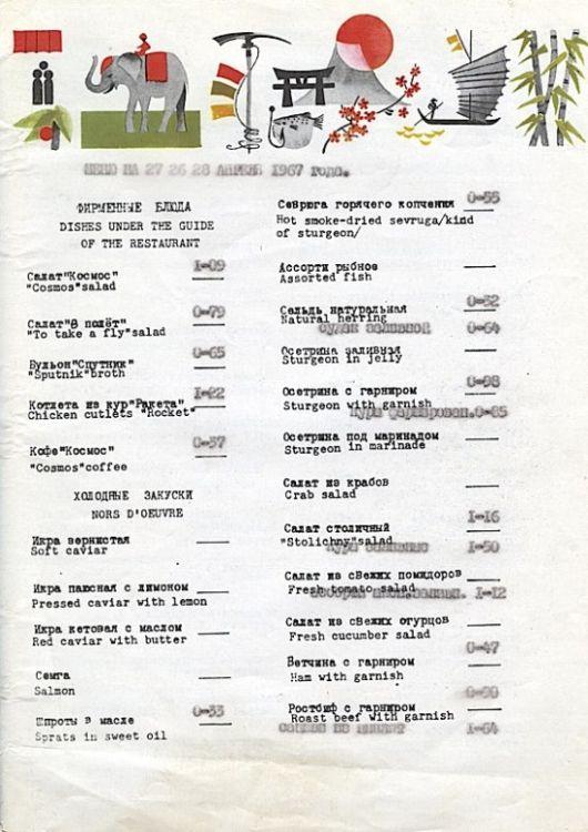 меню СССР