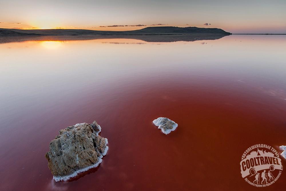 Розовое Кояшское озеро в Крыму