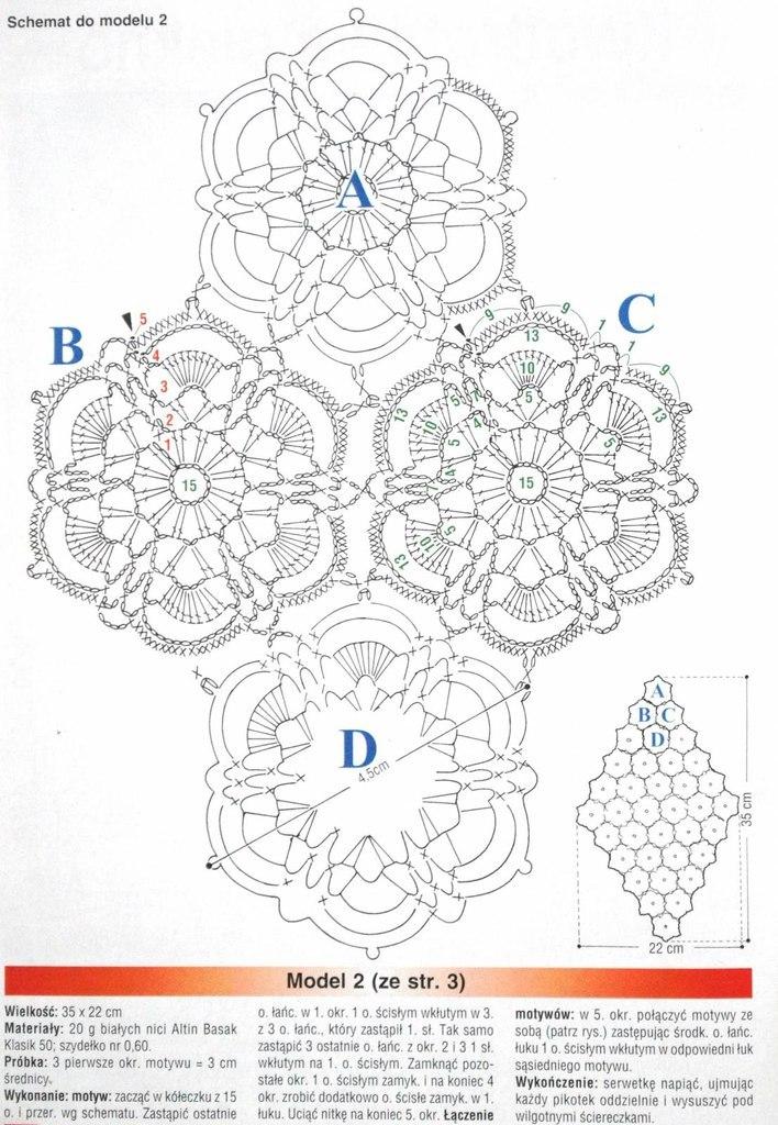 Симпатичный цветочный мотив крючком. Схема