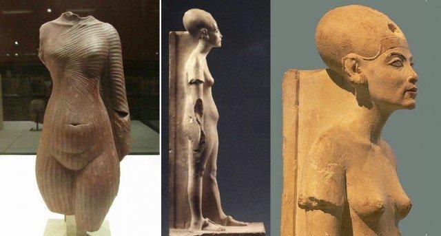 А вот перед вами сама царица Нефертити и, да, она одета! «Торс юной Нефертити» и «Нефертити в возрасте». Амарна. XIV в. до н.э. древний египет, интересно, история