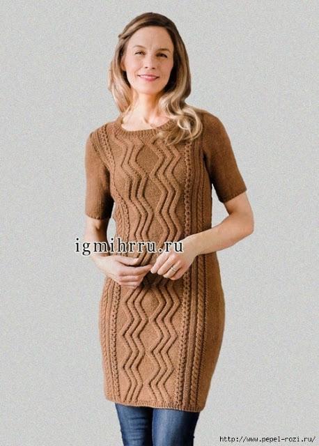 Элегантное платье - туника спицами