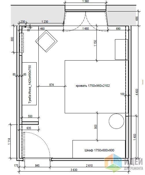 Интерьер спальни в сиреневых тонах. S=15,8 м2. Кирпичный дом в г. Мытищи.