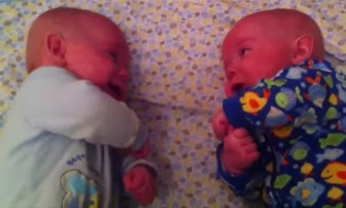 Мама положила близнецов вместе. Увидев, что они делают, она схватила камеру!