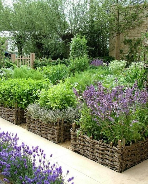 Плетеные корзины специально для выращивания трав и специй.